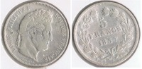 FRANCIA FRANCE 5 FRANCS LOUIS PHILIPPE 1837 W PLATA SILVER  V2 - Francia