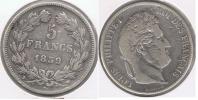 FRANCIA FRANCE 5 FRANCS LOUIS PHILIPPE 1839 W PLATA SILVER  V - J. 5 Francos