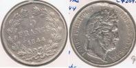 FRANCIA FRANCE 5 FRANCS LOUIS PHILIPPE 1844 W PLATA SILVER  V - J. 5 Francos