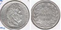 FRANCIA FRANCE 5 FRANCS LOUIS PHILIPPE 1845 W PLATA SILVER  V - J. 5 Francos