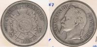 FRANCIA FRANCE 5 FRANCS NAPOLEON III 1867 A PLATA SILVER V - J. 5 Francos
