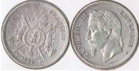 FRANCIA FRANCE 5 FRANCS NAPOLEON III 1869 A PLATA SILVER V - J. 5 Francos