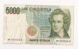 5000 LIRE CINQUEMILA BELLINI - [ 2] 1946-… : République