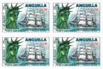 ANGUILLA 1985 Ship Danmark Liberty 10c. IMPERF. 4-BLOCK Bicentennial Denmark-related  [non Dentelé, Geschnitten] - Anguilla (1968-...)