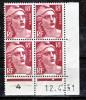 France  887 Marianne De Gandon Bloc De 4 Coin Daté 12 4 51 Neuf ** TB MNH Sin Charnela Cote 120 - 1950-1959