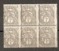TIMBRE N° 107 TYPE BLANC    BLOC DE 6   PIQUAGE DECALE    COTE MAURY 20 EUROS X 6 - Curiosità: 1900-20 Storia Postale