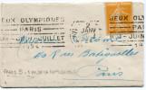 """FRANCE THEME J. O. LETTRE AVEC OBLITERATION PARIS 2 JANV 24 + FLAMME """"JEUX OLYMPIQUES PARIS MAI - JUIN - JUILLET 1924"""" - Summer 1924: Paris"""