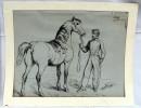 Deux Dessins Encre De Chine Cheval Et Soldat Polytechnique Janvier1866 - Dessins