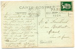 """FRANCE THEME J. O. CP AVEC OBLITERATION PARIS 31 I 1924 + FLAMME """"JEUX OLYMPIQUES PARIS MAI - JUIN - JUILLET 1924"""" - Summer 1924: Paris"""