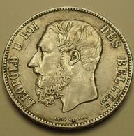 1870 - Belgique - Belgium - 5 FRANCS,  Léopold II, Petite Tête, Argent, Silver, KM 24