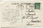 """FRANCE THEME J. O. CP AVEC OBLITERATION PARIS 23 IV 1924 + FLAMME """"JEUX OLYMPIQUES PARIS MAI - JUIN - JUILLET 1924"""" - Summer 1924: Paris"""