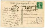 """FRANCE THEME J. O. CP AVEC OBLITERATION PARIS 16 III 1924 + FLAMME """"JEUX OLYMPIQUES PARIS MAI - JUIN - JUILLET 1924"""" - Estate 1924: Paris"""