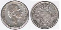 ESPAÑA  FILIPINAS ALFONSO XII 20 CENTAVOS PESO MANILA 1885 PLATA SILVER U - Filipinas