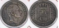 ESPAÑA  FILIPINAS ALFONSO XII 50 CENTAVOS PESO MANILA 1881 PLATA SILVER U - Filipinas