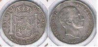 ESPAÑA  FILIPINAS ALFONSO XII 50 CENTAVOS PESO MANILA 1885 PLATA SILVER U - Filipinas