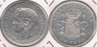 ESPAÑA  FILIPINAS ALFONSO XIII PESO MANILA 1897 PLATA SILVER U2 - Filipinas