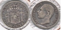 ESPAÑA ALFONSO XII 50 CENTIMOS PESETA 1881 PLATA SILVER U - [ 1] …-1931 : Reino