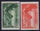 FRANCE: Yvert Nr 354 - 355 Louvre MH/*, Avec  Charnière , Mit Falz