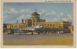 Kansas City Missouri, Municipal Airport, Propeller Plane On Tarmac, Equipment, C1940s Vintage Linen Postcard - Aerodromes