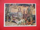 USSR Socialist Realism Russian Woman Soldier. Soviet Art ODAYNIK. Postcard 1972 - Peintures & Tableaux