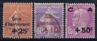 France: Yv Nr  249 - 251 Obl. Used  1928