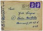 """DANZIG 1944 Hitler 6 Pfg.  X 2 On Envelope With Scarce Slogan Postmark """"Kampf Dem Kartoffelkäfer"""" - Danzig"""