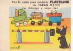 POSTAL DE PLASTILINE CARAN D´ACHE  (PAPEL SECANTE) TREN-TRAIN-ZUG - Publicidad