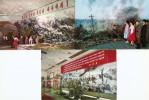 NORTH KOREEA COMMUNIST PROPAGANDA 3 POSTCARDS - Korea, North