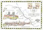 Germany 1990 Mi. 1445 And Berlin 860 FD Commemoration Card 12-Jan-1990, 500 Year Post, Historic Ride, Post Stagecoach - Brieven En Documenten