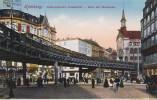 HAMBURG, Germany, 1900-1910's; Rodingsmarkt-Grasskeller, Ecke Mit Hochbahn - Germany