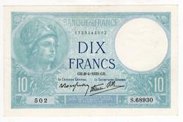 FRANCE - Billet De 10 Francs - Type Minerve - 6-4-1939 -  Superbe - 1871-1952 Anciens Francs Circulés Au XXème