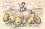 CPA Fantaisie - Enfant - Ange - Joyeuses Pâques - Poussins Humanisés - Engel