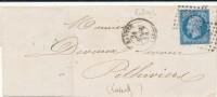 N°14 BLEU LILAS SUR LETTRE - 1853-1860 Napoléon III