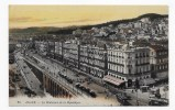 (RECTO / VERSO) ALGER - N° 28 - LE BOULEVARD DE LA REPUBLIQUE AVEC TRAMWAY - CPA - Algiers