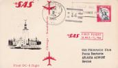 SAS FIRST DC 8 FLIGHT  CHICAGO SCANDINAVIA  STOCKHOLM ARLANDA 6/4/64  SCANS RECTO VERSO - Avions