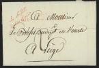 """L. 1809 marque 103/AIX-LA-CHAPELLE + cursive """"Le Pr�fet/de la Ro�r"""" pour Li�ge.  Texte sur des conscrits de Li�ge et ..."""