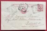 ARGENTA  FERRARA Annullo Tondo Riquadrato  SU INTERO POSTALE PER  FERRARA - 1904 - Storia Postale