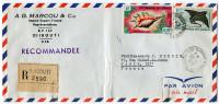 COTE FRANCAISE DES SOMALIS LETTRE RECOMMANDEE PAR AVION DEPART DJIBOUTI 22-9-1966 POUR LA FRANCE - Côte Française Des Somalis (1894-1967)