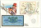 5317 - FINNLAND - Banknotenbrief Mit 5 Markka Und Briefmarken-Block - Finland