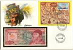 5318 - MEXIKO - Banknotenbrief Mit 20 Pesos Und Briefmarken-Block - Mexiko