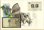 5321 - ITALIEN - Banknotenbrief Mit 1000 Lire Und Briefmarken-Block - [ 2] 1946-… Republik