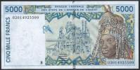 BANKNOTES L'AFRIQUE DELL'OVEST  1996 5000 FRANCS - West-Afrikaanse Staten