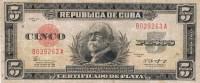 "1943 - 5 PESOS  # B039263A  - RARE - "" LA REPUBLICA "" ESCARCE  ( SCARCE ) - Cuba"