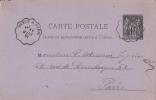 Cachet Gare Ou Convoyeur Ondulé Sur Entier Postal : Dreux à Paris 11mars 1882 - 1877-1920: Période Semi Moderne