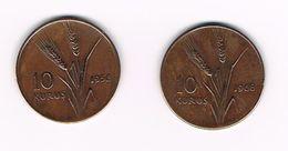 *** TURKIJE  2 X 10  KURUS 1958/1968 - Turquie