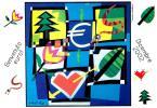 [DC0512] CARTOLINEA - BENVENUTO EURO - DICEMBRE 2002  - DISEGNO DI UGO NESPOLO (12 DI 12) - NV - Monete (rappresentazioni)