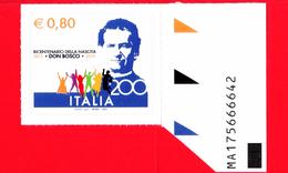 Nuovo - MNH - ITALIA - 2015 - 200 Anni Della Nascita Di San Giovanni Bosco - 0,80 - Sagoma Del Santo - Alfanumerico - 2011-...: Ungebraucht