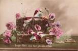 Carte Patriotique De 191? - Panier Fleuri, Suis Leur Glorieux Sillage - Fleurs - Militaire - Noeudss Tricolores - Bateau - Patriotiques