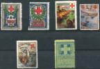 6 VIGNETTES CROIX-ROUGE DES COLONIES FRANCAISES (SECTION DE YUNNAN, KONAKRI, SAIGON, ST DENIS, PAPEETE, DJIBOUTI) - Commemorative Labels
