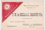 Carte  Commerciale  - PESSAC Près Bordeaux (Gironde) - P.W De Ducla & C.Chauvet Fils - Rhum Martinique - Tarjetas De Visita